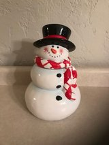 Vintage Snowman Cookie Jar with checkered scarf in Lockport, Illinois