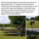 2004 17' center console Alumacraft boat in Leesville, Louisiana