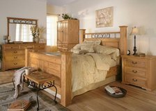Solid OAK bedroom suite for queen or king - 7 pieces in Bellevue, Nebraska