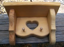 Unpainted Wood Key Holding Shelf Rack w/ Pegs and Cute Heart Design in Alamogordo, New Mexico