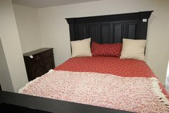 Amazing King Size Bed (Including Mattress) wood black in Spring, Texas