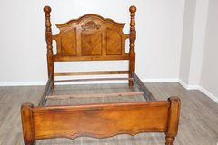 Excellent condition QUEEN wood bed with headboard, foot-board included in Kingwood, Texas