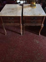 Antique French Provincial End Table Set Marble Top (1 is damaged!) in Leesville, Louisiana
