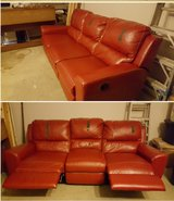 Double recliner vinyl couch in Spring, Texas
