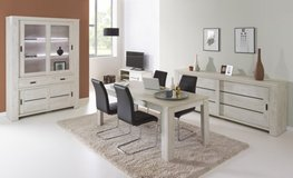 "United Furniture-Dining Set ""Gabriel"" - China - Table 160 - 4 Chairs (black or white) - delivery in Ansbach, Germany"