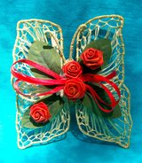 Butterfly Refrigerator Magnet, VTG Large Handmade Lace & Ribbon Rose in Alamogordo, New Mexico