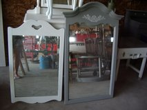 Beautiful vintage solid wood large mirrors, 4 Yugoslavian solid wood chairs small desk with chair in Morris, Illinois