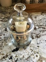 Home decor candle holder with candle, pebbles in Morris, Illinois