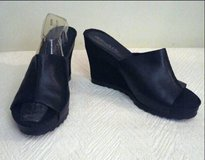 """AEROSOLES"" Black Leather With Suede Leather Wedge Heel Slip-ons in Fort Bragg, North Carolina"