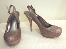 """Candies"" Dark Bronzed Gold Sparkle High Heeled Slingback Platform Shoes in Fort Bragg, North Carolina"