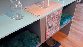 Upcycled headboard made into a cute all purpose table/kitty condo in Watertown, New York