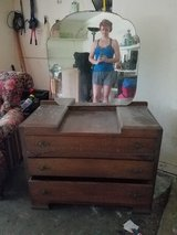 Antique Sturdy Wood Dresser with Mirror in Houston, Texas
