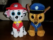 2 Paw Patrol TY Beanie Babies Stuffed Animals - Marshall & Chase in Kingwood, Texas