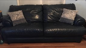 Navy leather couch and love seat in Clarksville, Tennessee