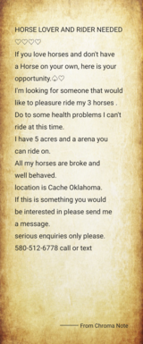 Horse riding opportunity in Lawton, Oklahoma