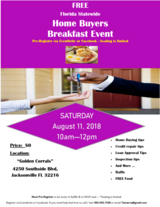 FREE Home Buyers Breakfast Event @ Golden Carrol (Southside Blvd) :Saturday August 11th; 10am-12pm in Jacksonville, Florida