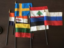 Flags of Estonia, Lithuania, Russia, SAF, Lebanon, and Sweden in Wiesbaden, GE