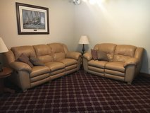 Tan leather sofa and love seat recliners in Algonquin, Illinois