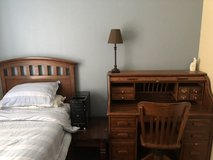 Solid wood twin bed frame and desk in Oceanside, California