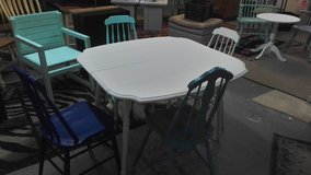 table and 4 colored chairs drop leaf ice pearl grey in Wilmington, North Carolina