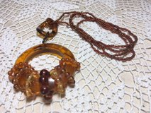 Vintage Necklace Amber Color Repurposed Pieces Pendant Unique One of a Kind in Kingwood, Texas