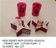 NEW HIGH SCHOOL MUSICAL *TRINKET BOX *LOTION PUMP *2 GLASSES LOT in San Antonio, Texas