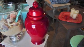 Cherry red gloss ginger jar in Wilmington, North Carolina