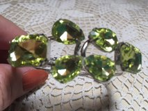 Silver Cuffed Hinged Bracelet with Large Peridot Colored Crystals NEW in Houston, Texas