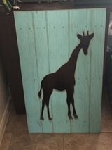 Large wood with giraffe cutout wall hanging in Katy, Texas