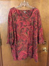 Red & Brown 3/4 sleeve top in Naperville, Illinois