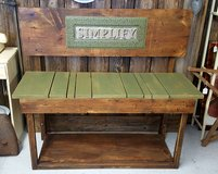 Rustic custom-made wood bench in Camp Lejeune, North Carolina