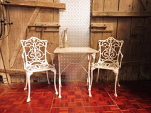 Two White Metal Patio Chairs and a Marble top Table in Ramstein, Germany