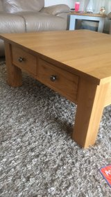 Solid oak, square  low coffee table with 4 drawers in Lakenheath, UK