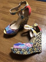 Colorful, playful peep toe wedge from Nine West (sz 7-7.5) in Okinawa, Japan