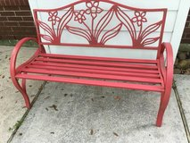 red metal bench in Houston, Texas