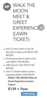 Two VIP Tickets 30 Seconds to Mars/ Walk the Moon/ Kflay in Camp Pendleton, California