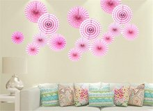 Bright Color Decorative Tissue Paper Hanging Fans,Wedding Party Home Decor,Set of 12 (Pink) in Fort Campbell, Kentucky