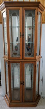 Beautiful etched glass display cabinet in Temecula, California