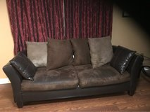 3pc living room set (leather sofa+love seat and brown suede sofa) in St. Charles, Illinois