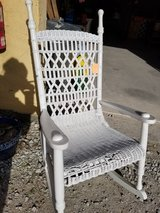 Vintage White Wicker Rocker #345-1311 in Wilmington, North Carolina