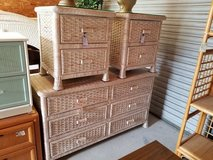 Wicker Glass Topped Nightstand #1594-2955 in Camp Lejeune, North Carolina