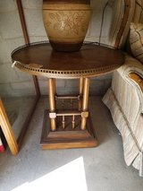 Oak Gallery Based End Table with Brass Accents #618-1765 in Camp Lejeune, North Carolina