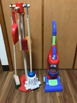 Toy vacuum and Melissa and Doug cleaning set in Okinawa, Japan