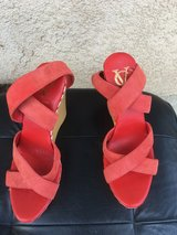 Red suede platform shoes , size 8 1/2 in 29 Palms, California