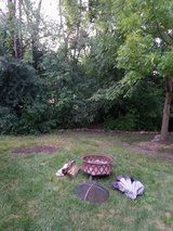 FIRE PIT, steel, on legs, with screen cover in Joliet, Illinois