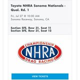 NHRA tickets in Fairfield, California