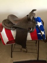 Vintage Saddle for Decoration with new saddle stand and blanket in Aurora, Illinois