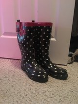black and white polka dot rain boots sz 9 in Pleasant View, Tennessee