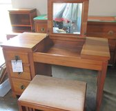 RARE Crawford Mid Century - Solid Wood - Vanity and Bench in Naperville, Illinois