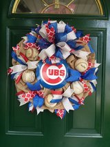 Burlap Cubs Wreath in Naperville, Illinois